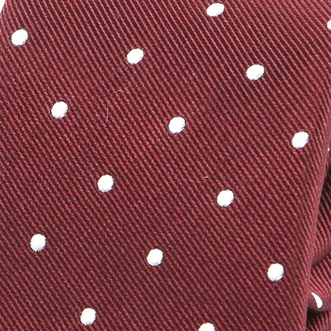 Dark Red Polka Silk Tie