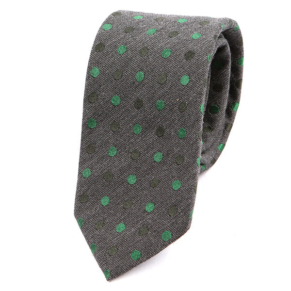 Dark Grey & Green Polka Dot Slim Tie
