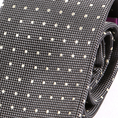 Grey Silk Tie With Polka Dots