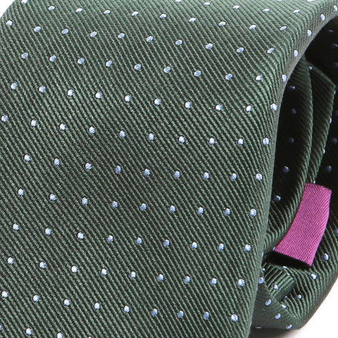 Green And Blue Polka Dot Silk Tie