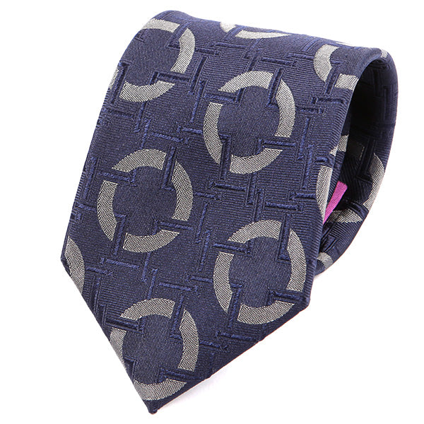 Navy Blue Big Circles Silk Tie