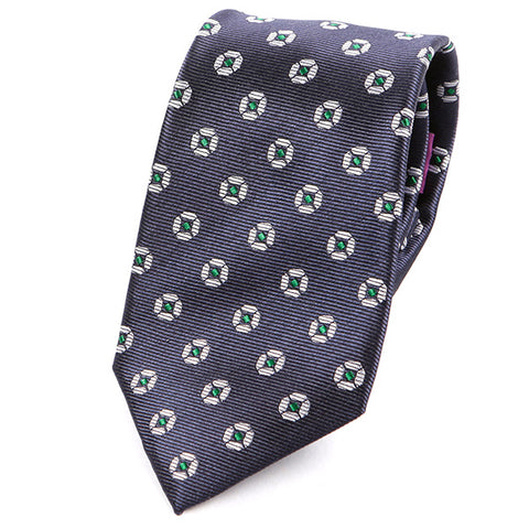 Dark Blue Big Green Circle Silk Tie