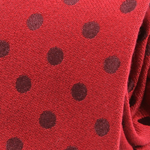 Red Italian Wool Polka Dot Slim Tie
