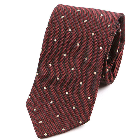 Red Polka Dot Textured Silk Tie