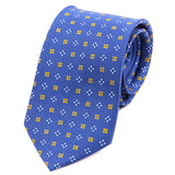 Blue Patterned Macclesfield Silk Tie