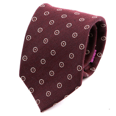 Red Italian Floral Wool Tie