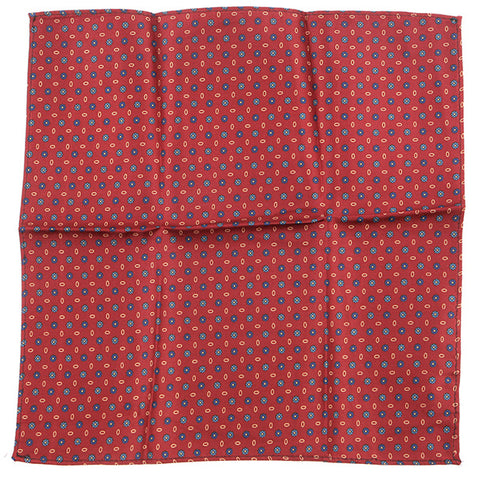 Red Silk Macclesfield Floral Pocket Square