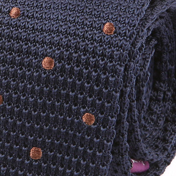 Navy & Brown Polka Dots Knitted Tie | Handmade Knit Tie