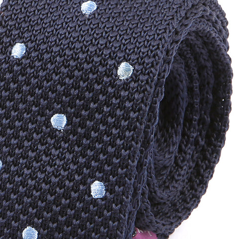 Navy Blue Polka Dots Knitted Tie