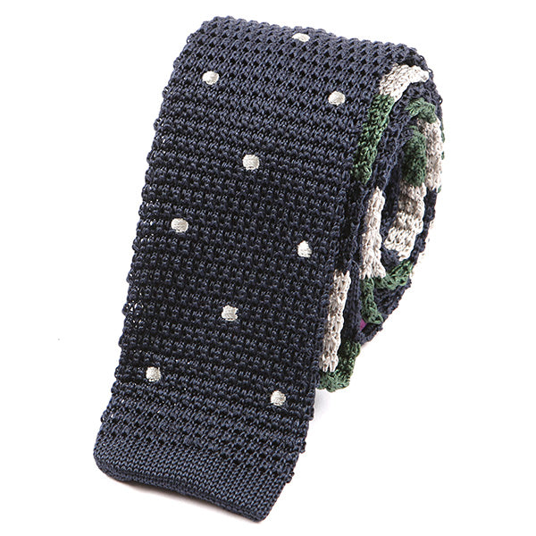 Navy & Green Polka Double Side Silk Knitted Tie