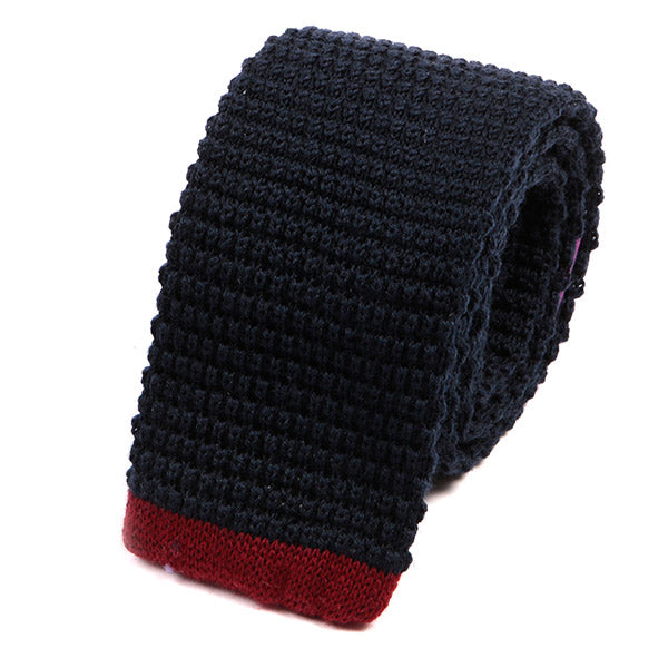 Navy And Red Tip Knit Wool Tie