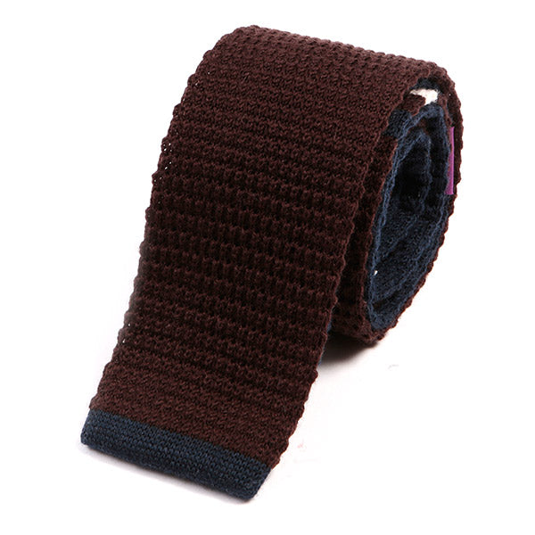 Brown And Navy Blue Tip Knit Wool Tie