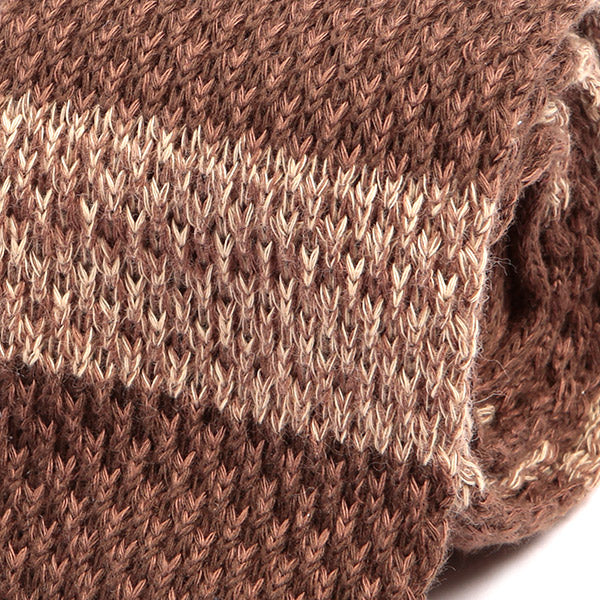 Brown Block  Knitted WoolTie