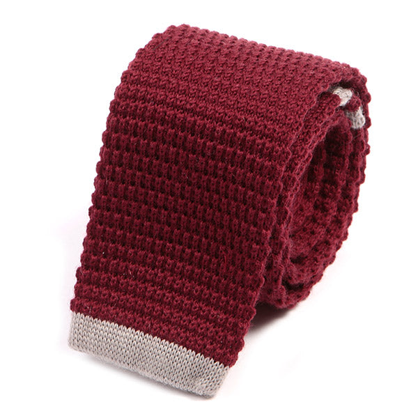 Red Tip Knit Wool Tie
