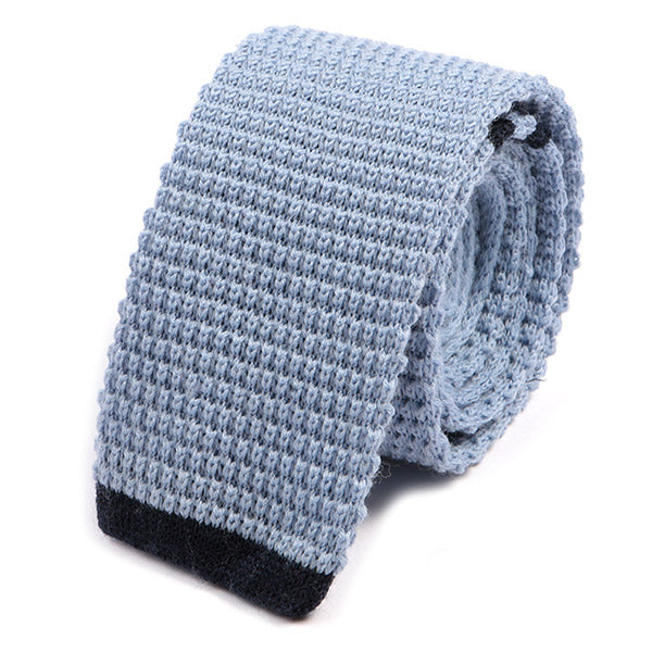 Light Blue Tip Wool Knit Tie