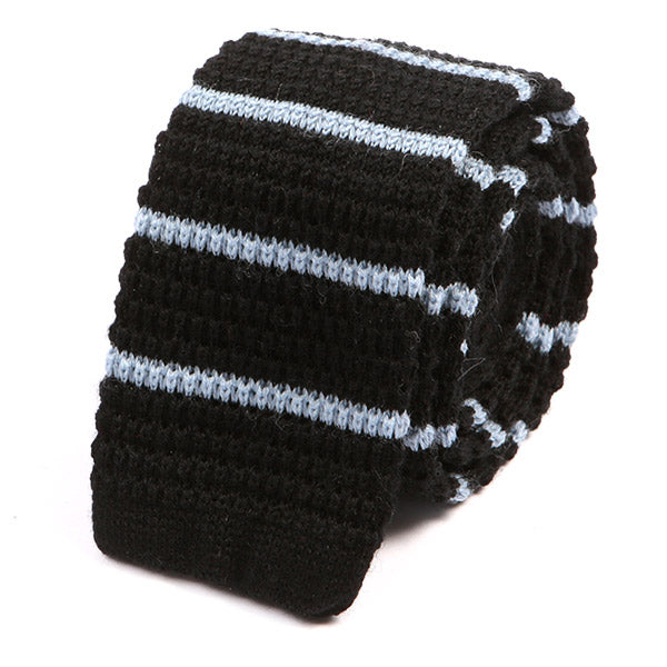 Black And Light Blue Striped Knit Wool Tie