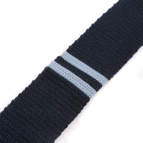 Blue Knitted Plain Striped Wool Tie