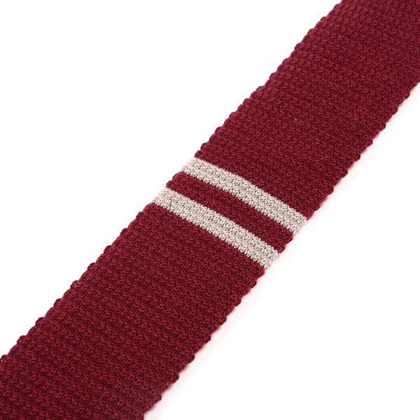 Red Knitted Plain Striped Wool Tie