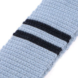 Light Blue Knitted Plain Striped Wool Tie
