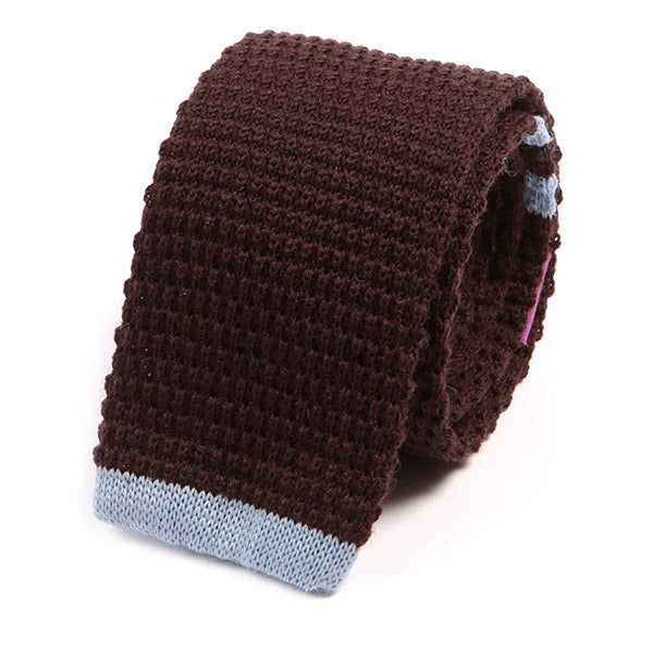 Brown And Blue Tip Knit Wool Tie