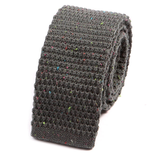 Grey Grain Wool Knitted Tie