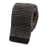 Black Batson Wool Knit Tie