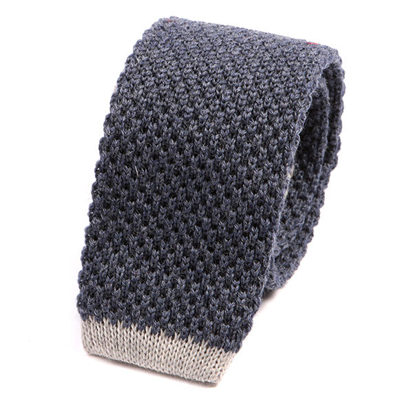 Denim Blue Tip Knit Wool Tie