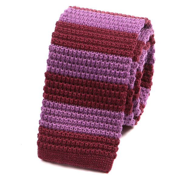 Ricardo Purple Striped Knit Wool Tie