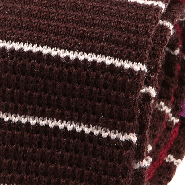 Brown Striped Knit Wool Tie