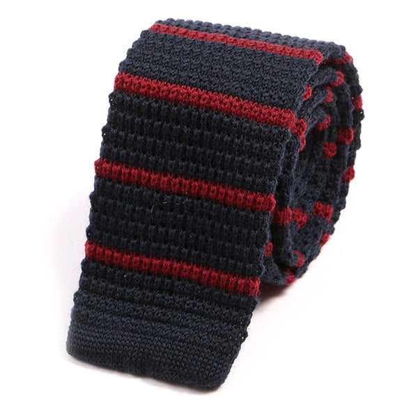 Navy Blue Striped Knit Wool Tie