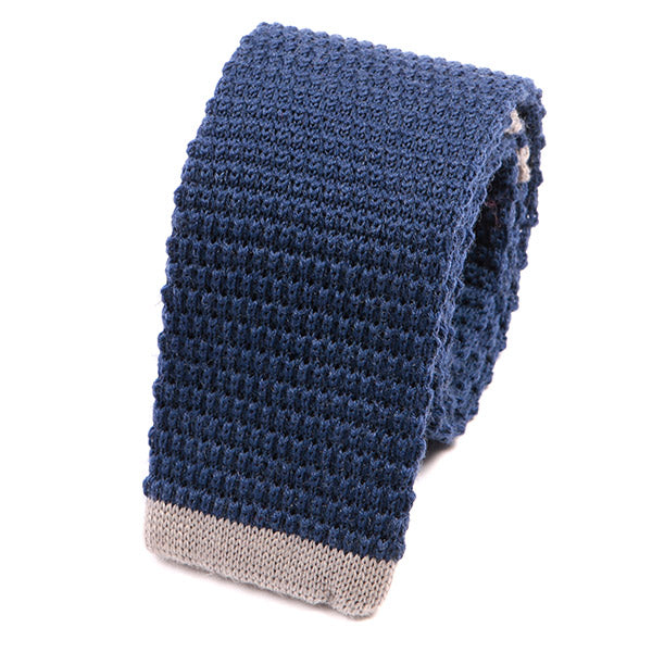 Light Blue Tip Knit Wool Tie