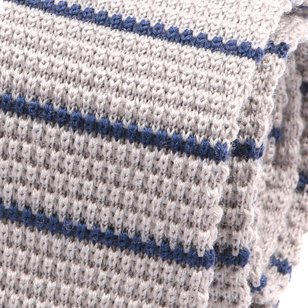 Off-White Blue Striped Knit Wool Tie