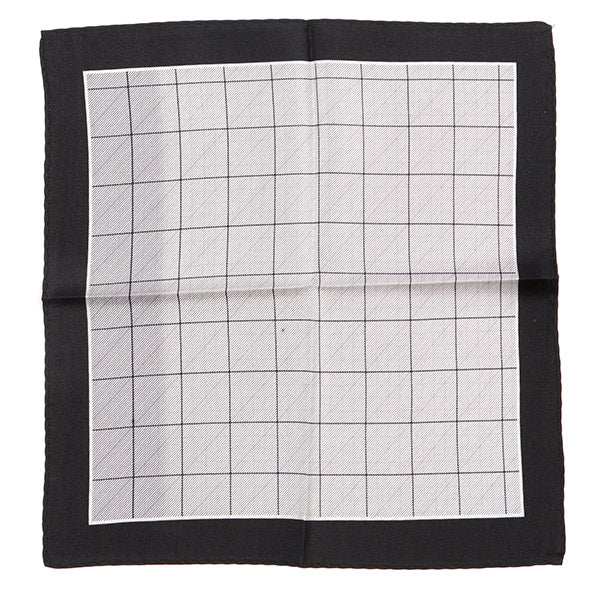 Black and Grey Patterned Silk Pocket Square
