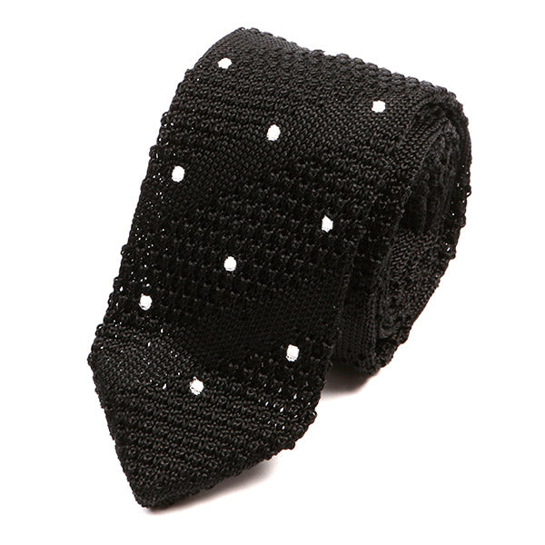Black With White Polka Dot Pointed Silk Knitted Tie