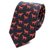 Navy Blue Dog Print Slim Tie