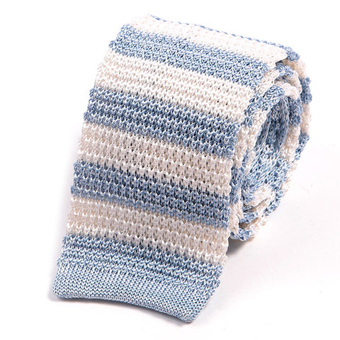 Light Blue Silk Knitted Tie With Stripes