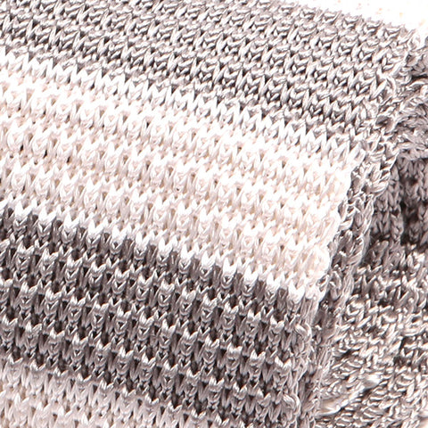 White & Silver Grey Silk Knitted Tie