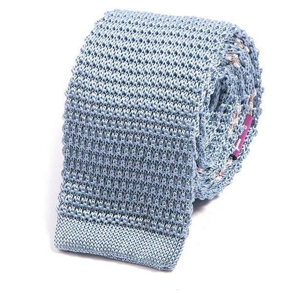 Light Blue Silk Knitted Tie