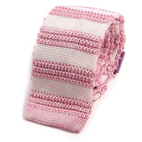Pink & White Striped Silk Knitted Tie