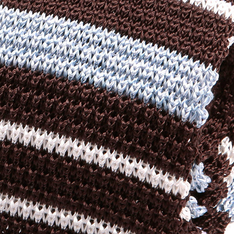 Brown Silk Trio Knitted Tie