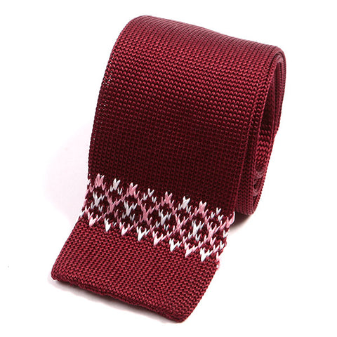 Dark Red Silk Knitted Tie