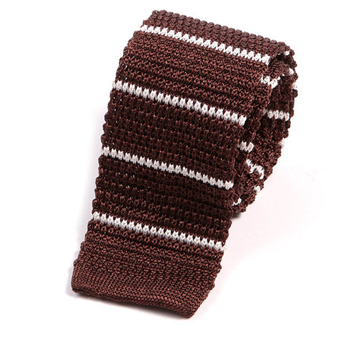 Brown Silk Knitted Tie With White Stripes
