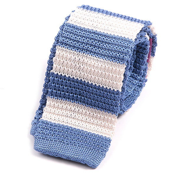 Blue Silk Knitted Tie With Stripes - Double Sided