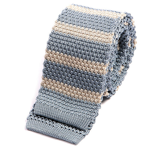 Blue And Grey Silk Knit Tie - Double Side