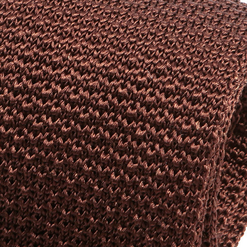 Brown Raised Silk Knitted Tie
