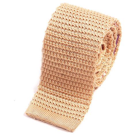 Cream Silk Knitted Tie