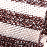 Brown & White Striped Silk Knitted Tie