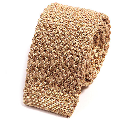 Cream Raised Silk Knitted Tie