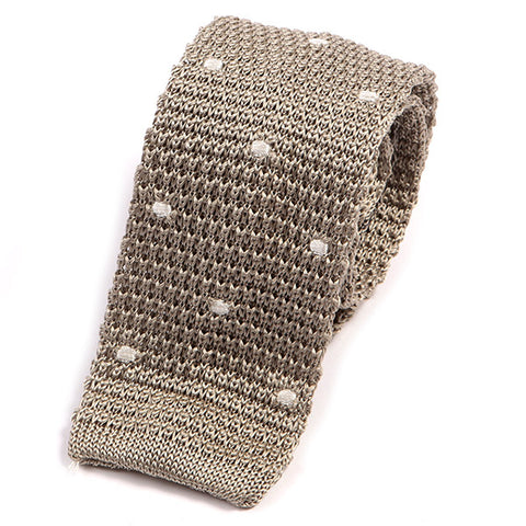 Slim Grey Polka Dot Silk Knitted Tie