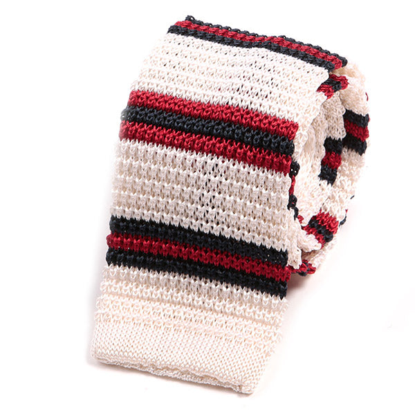 Cream And Red Striped Silk Knitted Tie